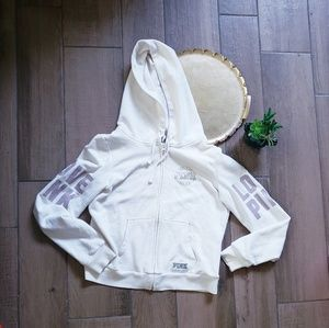VS Pink Love full zip hoodie cream L jacket coat